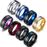 Мода 8 мм мужские кольца из нержавеющей стали Красочная канавка скошенного края свадебное обручальное кольцо годовщины ювелирных изделий