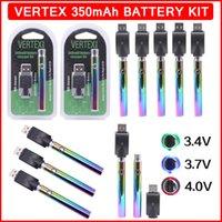 Vertex 350mAh VV Gökkuşağı Vape Pil 510 Konu USB Şarj Blister Kiti Ambalaj Önceden Buharlaştırıcı Değişken Gerilim Kalem Piller