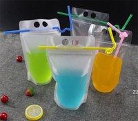 4 estilos 500ml transparente auto-selado auto-selado bebida embalagem bolsa bolsa para bebida suco café, com alça e buracos para palha hwa6829