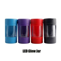 newLED Glow Jar Storage Bottle Container 12.5*6.5mm Magnifying Glass Stash Mag Jars With Grinder Rechargeable Smoking Pipe DHL EWF6654