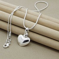 Designer Necklace 925 Sterling Silver Solid Small Heart Pendant Snake Chain For Women Wedding Charm Fashion Jewelry Gifts