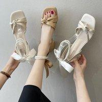 드레스 신발 여성을위한 하이힐 샌들 크로스 신발 2021 여름 정장 여성 베이지 색 전향 하이힐 맑은 여자 블록 복고풍 블랙 com
