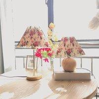 Masa Lambaları Xianfan Ahşap Baz Kapalı Aydınlatma Okuma için Süslemeleri Süslemeleri 110 V-220 V Lamba Bez Kompozit PVC Abajur Ile Narni Renk