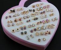 Commercio all'ingrosso 36 paia / lotto ragazza affascinante oro rosa oro orecchini misti colori brillante zirconi regalo ye175