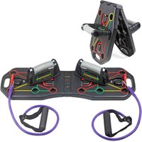 Multi-Function Foldable Push Up Board System w Resistance Tube Bands Pull Rope Bodybuilding Exercise Workout Push-up Stand Board X0524