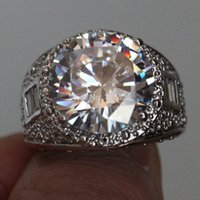 Choucong мужской огромный круглый камень 5А циркона камень 10кт белое золото заполненное вовлечение обручальное кольцо кольцо свадьбы SZ 5-11
