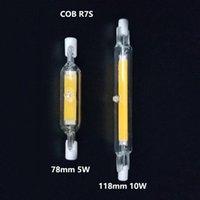 전구 10pcs R7S LED 스포트 라이트 118mm 78mm 5W 10W 110V 220V 디 밍이 가능한 COB 램프 전구 유리 튜브 교체 30W 50W 100W 할로겐 빛
