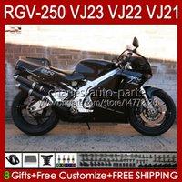 OEM Bodywork para Suzuki RGVT RGV 250 CC RGV250 Stock Negro SAPC VJ23 Cowling RGV-250CC Body 107HC.111 RGVT-250 VJ 23 RGV-250 Panel 97 98 RVG250 250cc 1997 1998 Kit de carenización