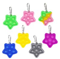 Party Favor Fidget Toys Keychian Push Bubble Colorful Sensory Game Anxiety Stress Reliever Child Kids Adults Key Ring Gift