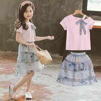 Clothing Sets Girls Summer Bow Cotton T-shirt + Chiffon Cake Skirt Kids Outfits Children Clothes Baby Short Sleeve Suits