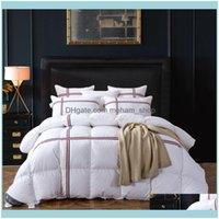 Bedspread Biancheria da letto Forniture Tessili Casa Gardentutubird Duck / Down Trapunte trapuntato Trapunta Bianco Bianco Striped Winter Trapunta calda con 10