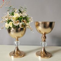 Vases IMUWEN Gold Vase Metal Tabletop Flower Road Lead Wedding Table Centerpiece Flowers For Home Party Decoration