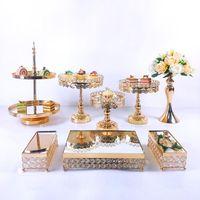 Outros fornecimentos festivos do partido 8 pcs Cristal Metal Bolo Stand Set Acrílico Espelho Decorações De Cupcake Dessert Pedestal Wedding Display Bandeja