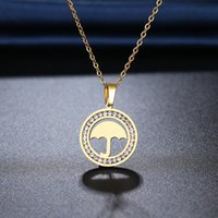 Pendant Necklaces CACANA 316L Stainless Steel Umbrella Necklace Crystal Rhinestone For Women Wedding Valentine's Day Gifts N2204