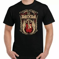 Rock n Roll T-Shirt Skull Guitar Mens Funny Music Electric Band Drums Top Unisex
