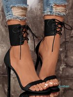 Trendy lace up open toe high heels ankle strap white black shoes PU leather 2018 new size 35 to 40
