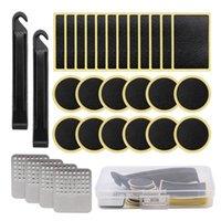 Herramientas 30 unids Kits de reparación de neumáticos de bicicleta Set Etiqueta Pegatina Portable Pry Bar Glue-Free Square Redondo Punch Transporte