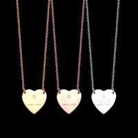 Fashion Lady 316L Titanium steel Engraved Letter Party Gift 18K Plated Women Gold Silver Necklaces With Single Heart Pendant 3 Color Christmas