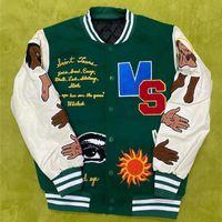 Men's Jackets READYMADE Denim Tears Varsity Baseball Jacket Men Women Coat Sleeve Stitching Embroidery