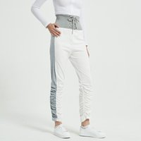 Stacked Leggings Joggers Women Sweatpants Female Pleated High Waist Trousers Patchwork Ruched Pants 210513