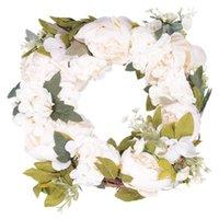 Decorative Flowers & Wreaths 16 Inch Peony Hydrangea Wreath,Artificial Flower Wreath Door With Green Leaves Spring For Front Door,Wedding