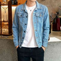 Men's Jackets fashionable cowboy jean jacket, casual coat for men with slim cut, spring and fall fashion. 0P0R