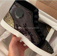 DiseñadoresLouboutinClcristianoLujos al por mayor - Zapatillas de deporte del fondo rojo de los mejores espigas para hombres Zapatillas Zapatillas de deporte Perfect Glitter Bl RLS