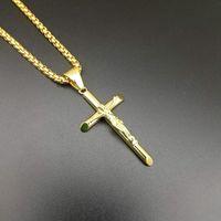 Stainless Steel Hip Hop Jewlery Jesus Cross Pendant Necklace Men Women Street Dance Rock Rapper Boys Accessories Gold Steel 334 N2