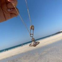 Планета ожерелье для женщин Rhinestone Paper Clip Cleans Chokers Creative Wenge Saturns Pin Colls жгуты украшенные подарки
