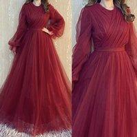 Borgonha vestidos de noite formal usam mangas compridas festa vestidos de baile labourjoisie Oriente Médio Dubai Árabe Tule
