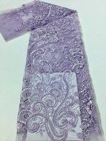 Nieuwe prachtige handgemaakte kraal sequin franse mesh kant / Afrikaanse Nigeria kralen borduurwerk stof voor avondjurk bruiloft stof