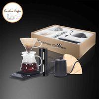 Swabue Pour Over Coffee Sets V60 Filter Papesr Pripper Glasse Pots 500ml Scrance Scale Manual Grinder Cafe Maker 4/5 مجموعات