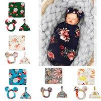 Newborn Baby Swaddle Blanket Bow Cat Headband Hat 3 pcs Sleeping Bags Flower Butterfly Print Wrap INS Toddler Cartoon Sleep Sacks Shark Photography Prop