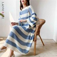 LANMREM Stripe Crupe Cruche Pull Sweater Femmes Automne Hiver Vintage Vintage Vintage Robe à tricoter Femme PC442 210805