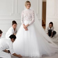 2021 Long Sleeves Wedding Dresses Lace Bridal Gowns A Line Side Split Sweep Train Country Dress