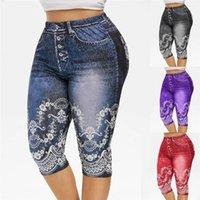 Faux Jeans Leggings Frau Stretched Short Leggins 4 \ 3 Capri Hosen Sommerhosen Hohe Taille Perfekte Passform Jeggings Frauen