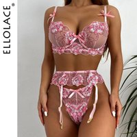 Bras Sets Ellolace Fancy Women's Underwear Sexy Sensual Lingerie Floral Underwire Bra Garters And Thongs Erotic Transparent Brief