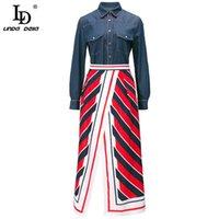 LD Linda della Automne Mode Jupes à la mode Enculage Femmes Manche à manches longues Denim Tops et taille haute Retour Midi Jupes Midi 2 pièces 210407