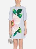 Floral Impressão Mulheres Bainha Redonda Vestido De Manga Curta Mini Vestidos