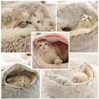 Pet Dog Cat Round Plush Bed Semi-enclosed Nest For Deep Sleep Comfort In Winter Cats Little Mat Basket Soft Kennel Beds & Furniture