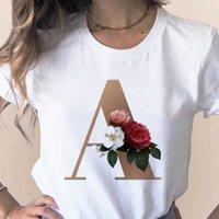 사용자 정의 이름 편지 조합 여성의 고품질 인쇄 티셔츠 꽃 편지 글꼴 A B C D E F G 짧은 소매 옷 X0527