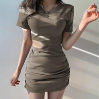 Casual Dresses Mini Short Sleeve Solid Black Woman Clothes 2021 Summer Bodycon Hollow Out Vintage Sexy Beach Party Dress Femme Robe