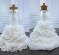 Strapless Satin Mermaid Wedding Dresess Tiered Organza Bridal Gown Lace Up Sweep Train Long Puffy Vestido De Noiva