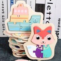 Niños de madera 3d rompecabezas rompecabezas juguetes para niños dibujos animados animal vehículo madera rompecabezas inteligencia niño bebé temprano educativo txtb1 1288 y2