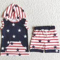 Enfants Designer Vêtements Vêtements Été Ensembles Mode Toddler Bébé Baby Boutique Vêtements Sweat Sweat Set 4e Juillet Star Imprimer Short Kid Wholesale Tenue Soie de lait