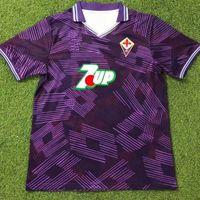 1992/93 Retro Florences Soccer Jerseys Classic Fiorentina Batistuta 9 Laudrup Thailandia Qualità Away Uniformi 1991/92 Camicie da calcio domestica Camiseta Futbol Size S-XXL