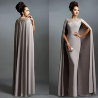 Cheap Real Image 2020 Long Mermaid Evening Dresses With Cape Illusion Neck Lace Mother of the Bride Dresses Long Formal Party Prom Gowns