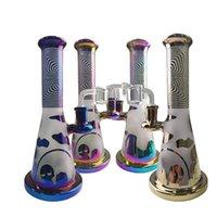 무지개 다채로운 물 담뱃대 유리 봉 샤워 헤드 퍼크 봉수 물 파이프 작은 DAB 오일 장비 Banger ZDWS2005와 함께 14.5mm 여성 조인트