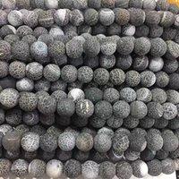 Siyah Buzlu Agates Oniks Yuvarlak Gevşek Boncuk Takı Yapımı Için DIY Bilezik 15 inç Seçim Boyutu 6/8/10 / 12mm 1701 Q2