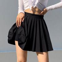 Skirts White Mini Pleated Skirt Woman Elastic Waist Short Sexy Summer Embroidery High Tennis
